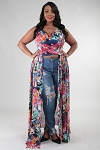 Plus Size Sleeveless Cropped Maxi Dress