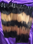 15A Double Drawn 5 Tone Colored Straight Hair