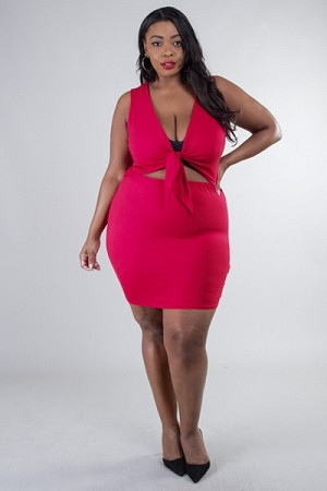 Plus Size Tie Knot  Sleeveless Mini Dress
